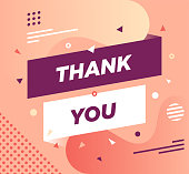 """Trendy abstract banner illustration with """"Thank You"""" typography. Vector illustration concept for web/mobile pages, social media banners for printed materials"""