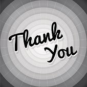 Thank you typography black and white old movie screen poster. Editable vector background. Isolated.