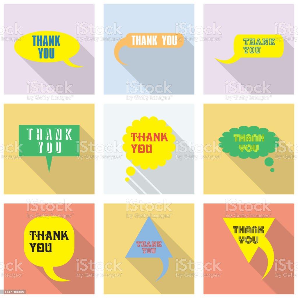 Thank you vector, appreciation and gratitude speech bubble set....