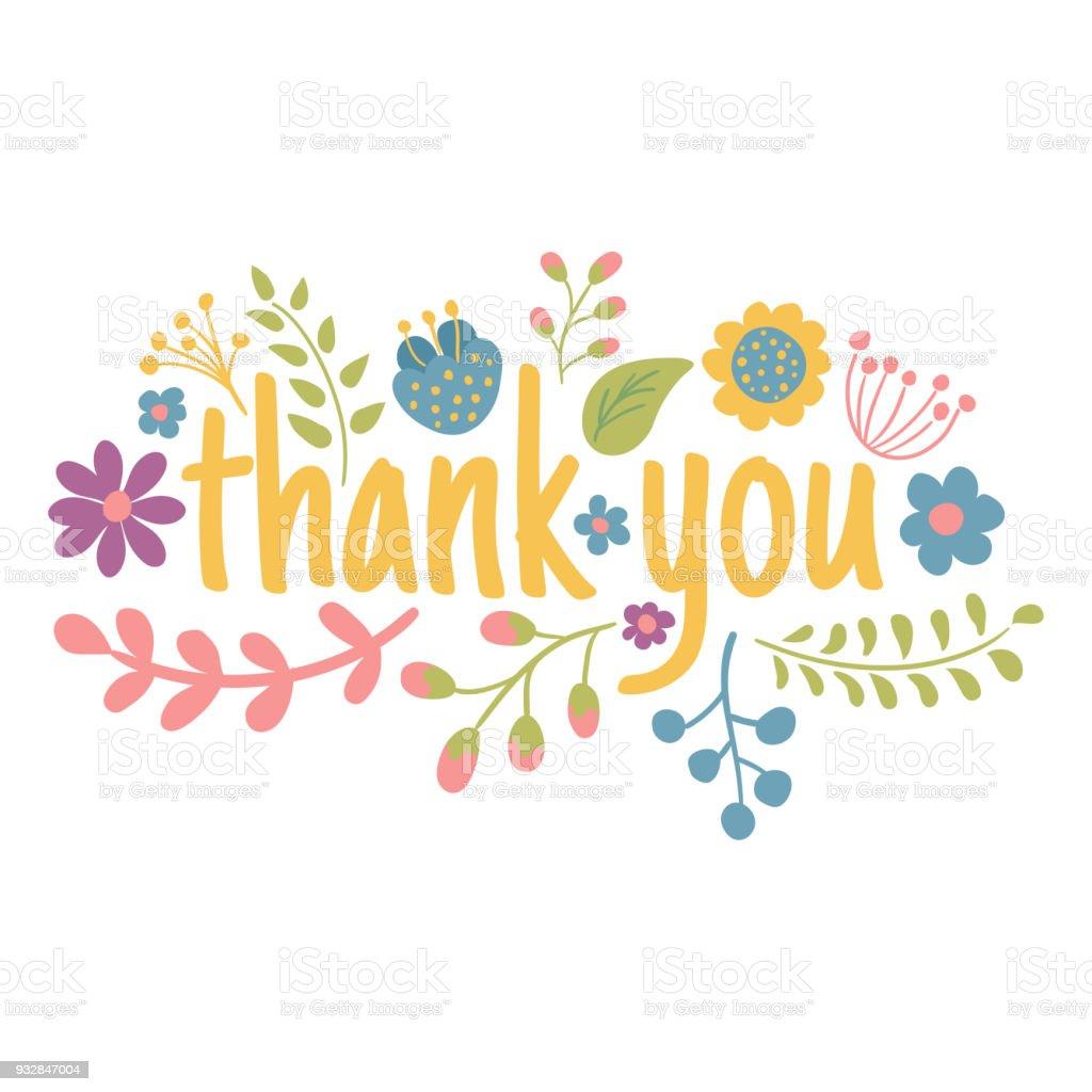 Beautiful Flower Thank You: Ilustración De Muchas Gracias Y Más Banco De Imágenes De