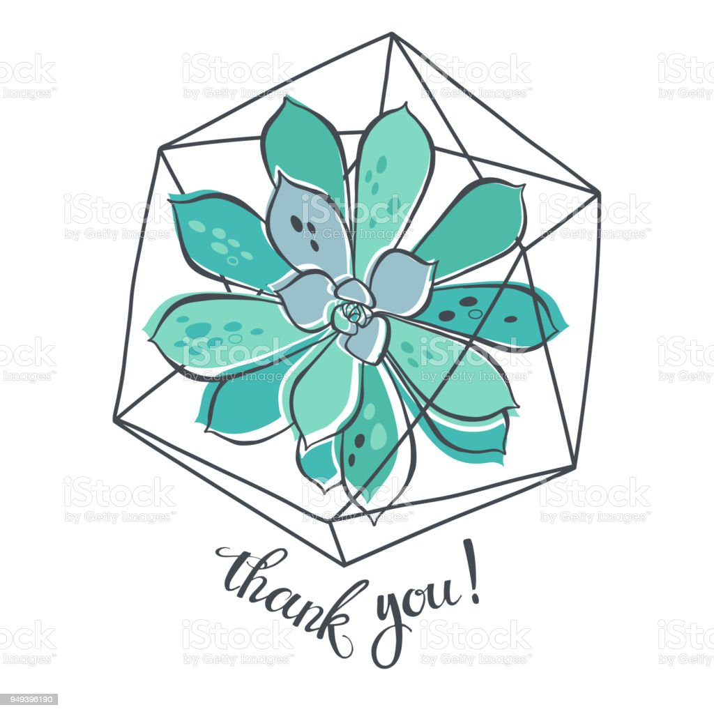 Thank You Vector Thanksgiving Card With Succulent In Florarium And ...