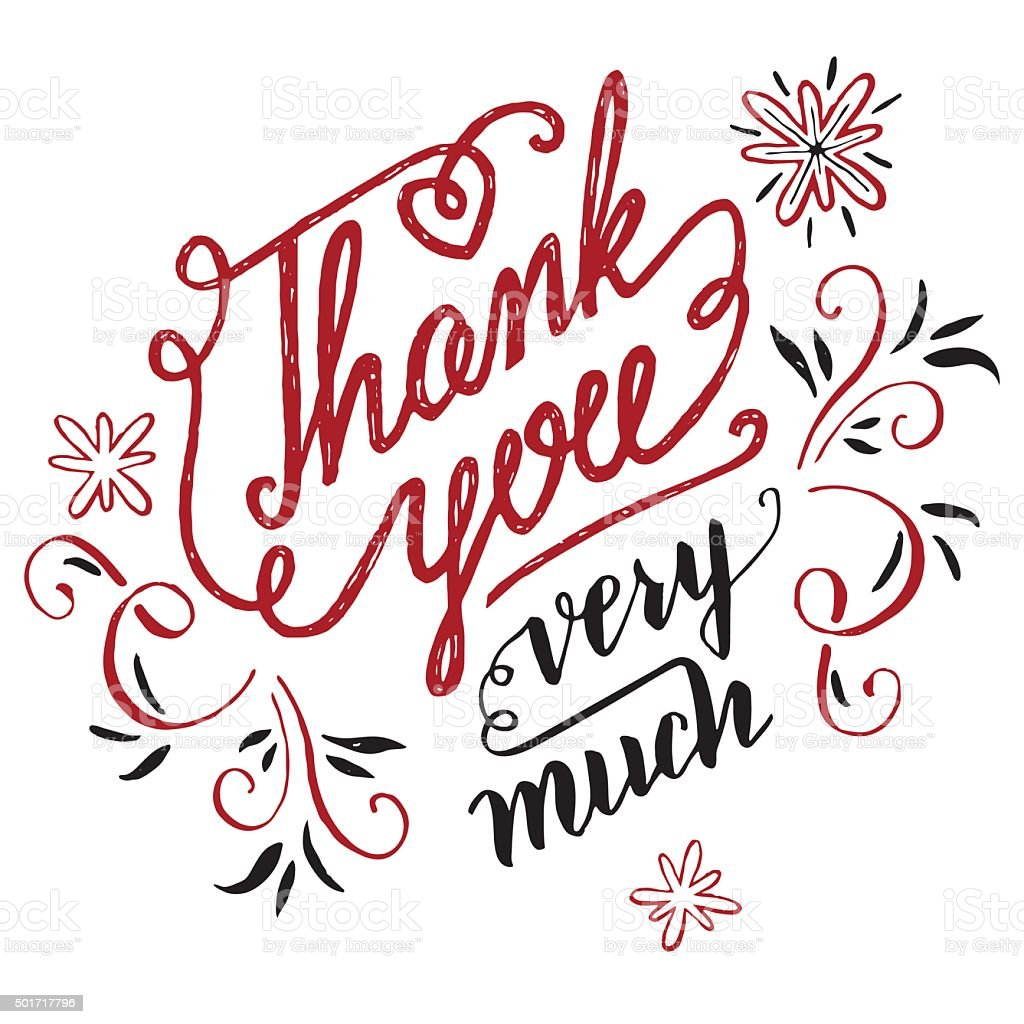 thank you very much calligraphy stock vector art more images of