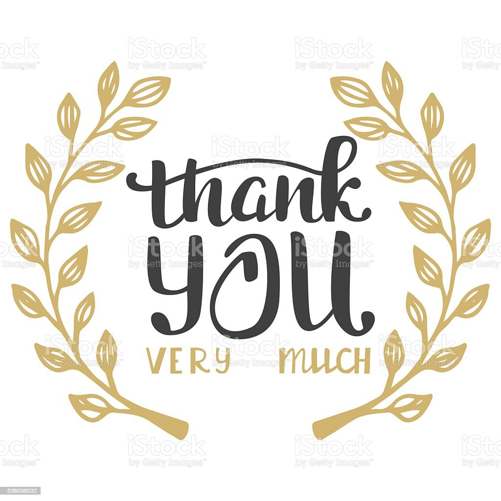 Thank You Very Much Hand Lettering Inscription Stockvectorkunst En