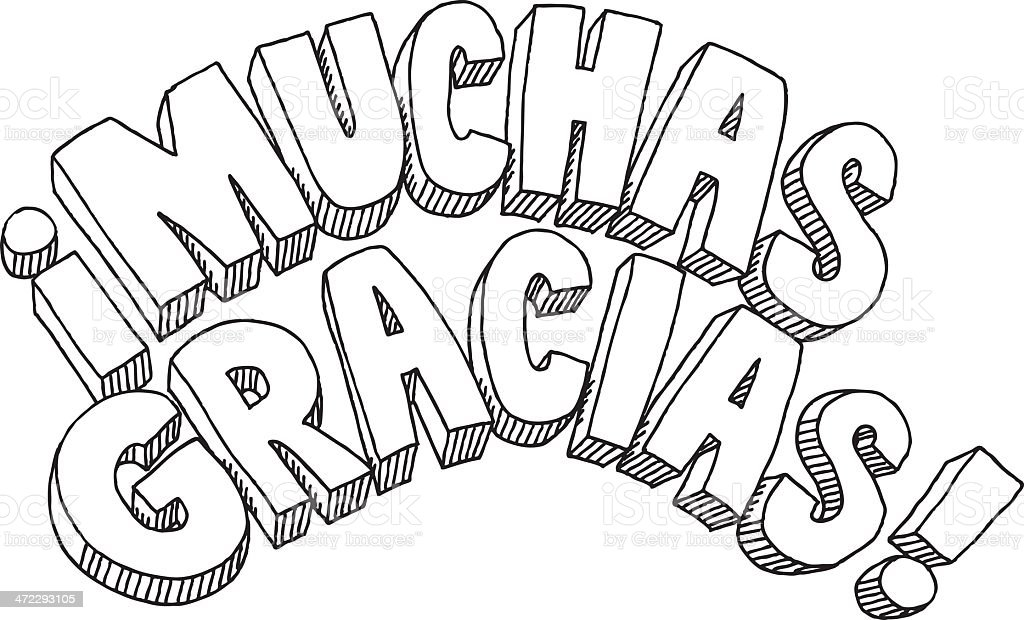 Muchas Gracias Text Drawing royalty-free stock vector art