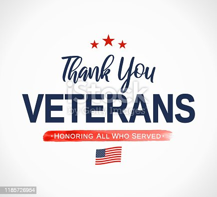 Thank You Veterans card. Honoring all who served. Veterans day. Vector illustration. EPS10
