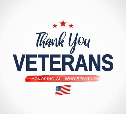 Thank You Veterans card. Honoring all who served. Veterans day. Vector