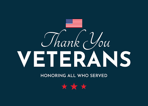 Thank You Veterans card. Veterans Day. Honoring all who served. Vector