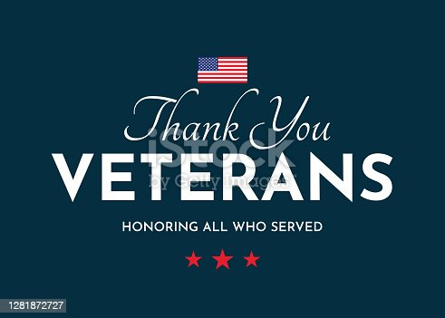 Thank You Veterans card. Veterans Day. Honoring all who served. Vector illustration. EPS10