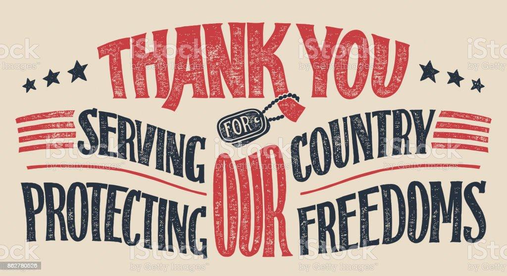 Thank you veterans hand-lettering card vector art illustration