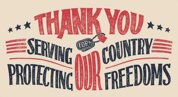 thank you veterans hand-lettering card - veterans day stock illustrations