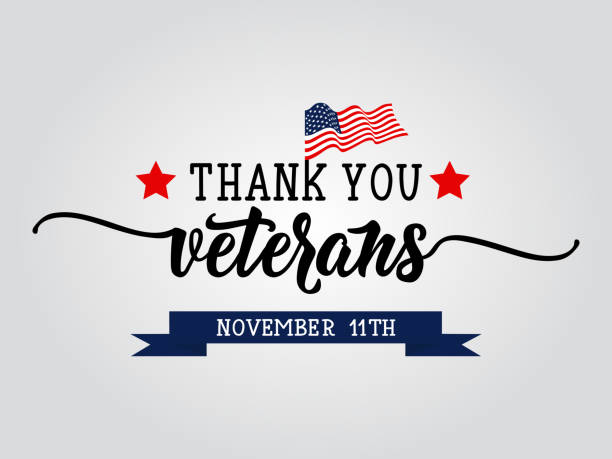 thank you veterans lettering. november 11 holiday background. greeting card. - veterans day stock illustrations