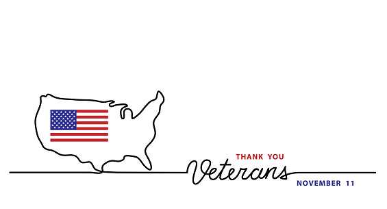 Thank you veterans simple vector banner, poster, background with flag and usa map. Single line art illustration with lettering veterans