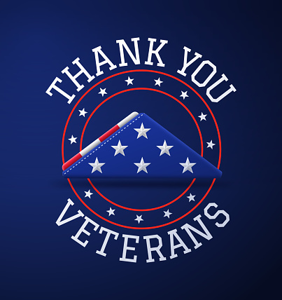 Thank you veterans folded flag remembrance stars and stripes red white and blue patriotic American USA message symbol.