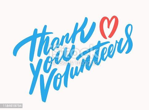 Thank you volunteers. Vector hand drawn illustration.