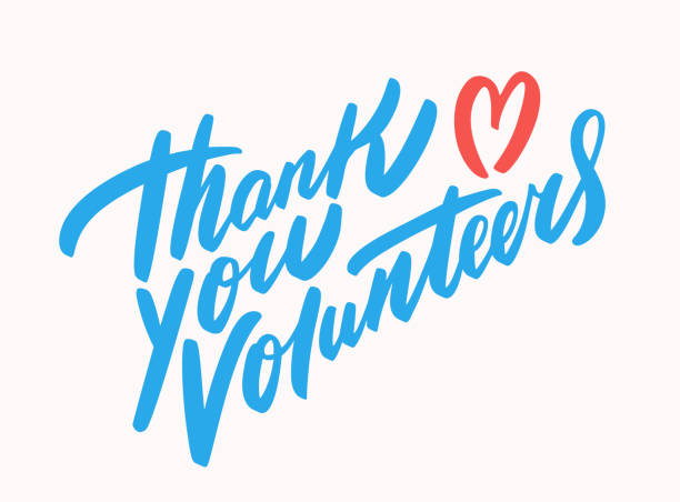 Thank you volunteers. Vector lettering. Thank you volunteers. Vector hand drawn illustration. volunteer stock illustrations