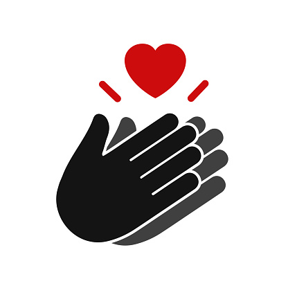 Thank you with applause icon and heart, clapping hands - stock vector