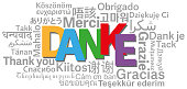 thank you word cloud in different languages with German word DANKE in center vector illustration