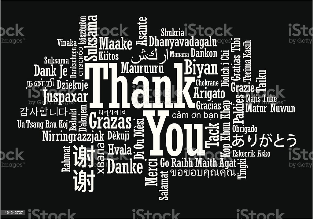 Thank You Word Cloud vector art illustration