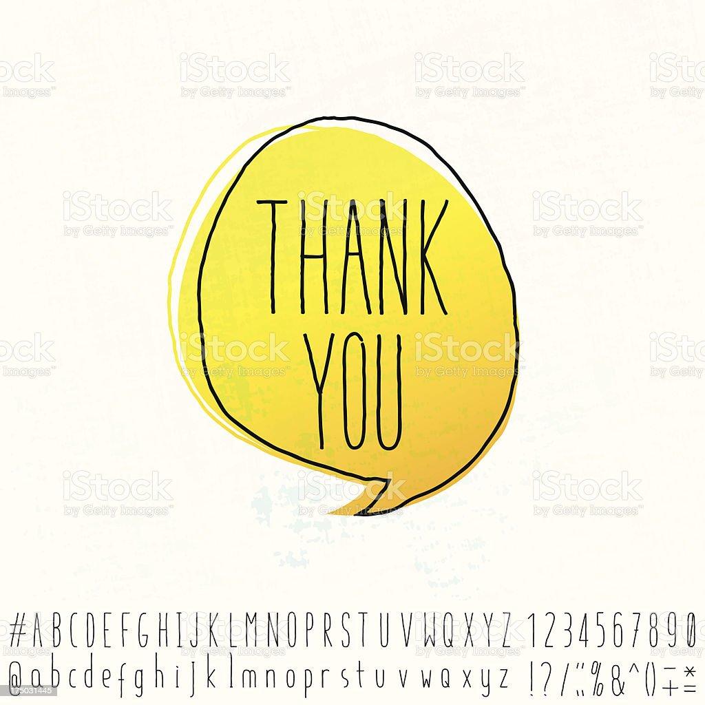 Merci mot le texte de l'espace Doodle discours Bubble avec lettre de l'Alphabet - Illustration vectorielle