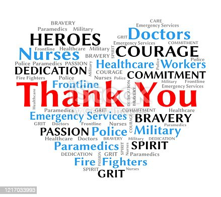 Thank you wordcloud for coronavirus covid-19 to nurses doctors healthcare and frontline workers heart shape with text for bravery and courage
