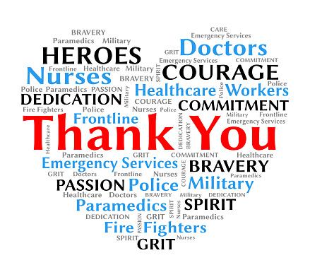 Thank you wordcloud heart for coronavirus covid-19 nurses and healthcare