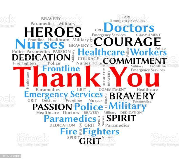 Thank You Wordcloud Heart For Coronavirus Covid19 Nurses And Healthcare — стоковая векторная графика и другие изображения на тему Covid-19