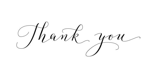 thank you words, hand written custom calligraphy isolated on white. great for cards, wedding invitations, social media banners, headers, photo overlays. - thank you stock illustrations