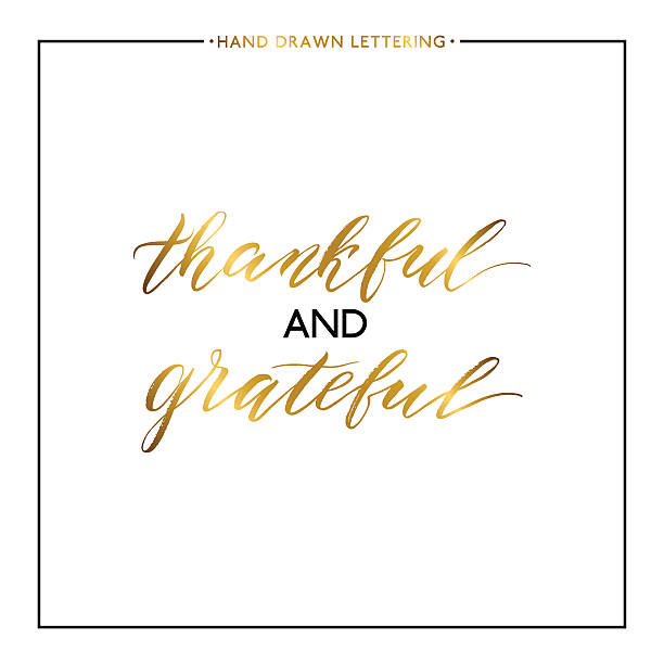 thankful and grateful gold lettering isolated on white background - vielen dank stock-grafiken, -clipart, -cartoons und -symbole