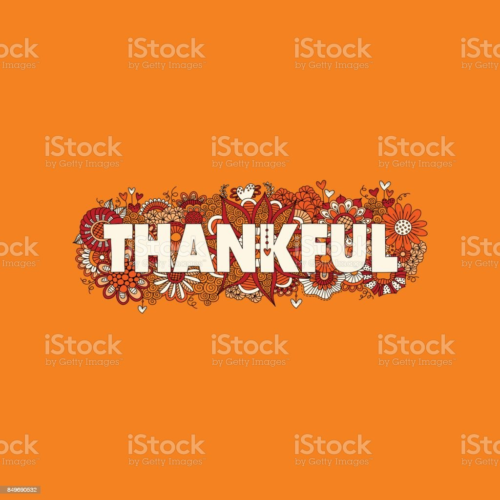 Thankful Doodle Vector Illustration on an Orange Background vector art illustration