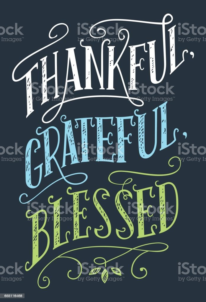 Thankful, grateful, blessed home decor sign vector art illustration