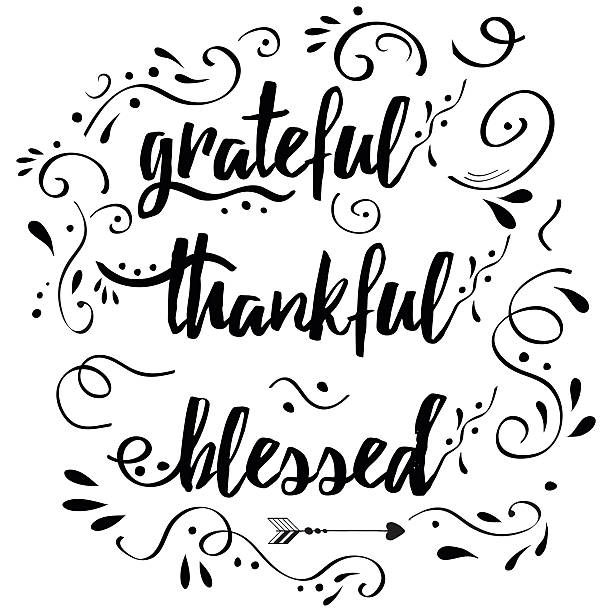 thankful grateful blessed vector hand drawn card decorated floral ornament - vielen dank stock-grafiken, -clipart, -cartoons und -symbole