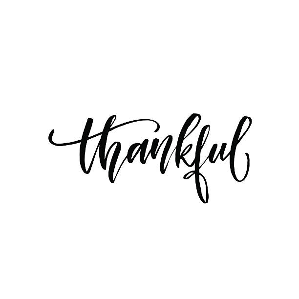 ilustrações de stock, clip art, desenhos animados e ícones de thankful hand drawn postcard. - gratidão