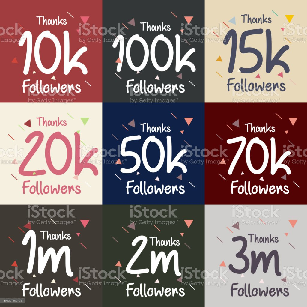 Thanks Followers Set Vector Template Design royalty-free thanks followers set vector template design stock vector art & more images of abstract