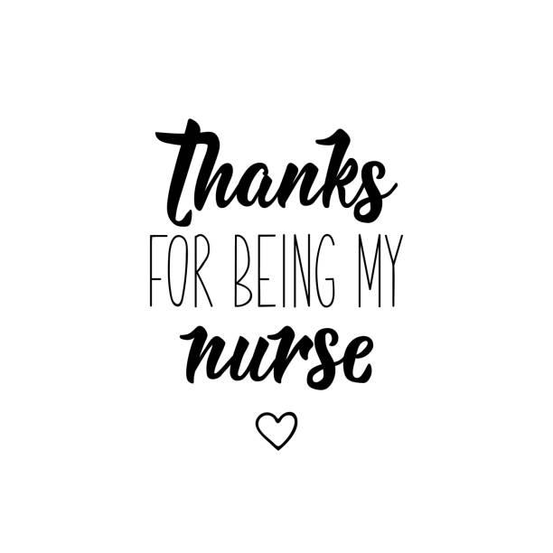 illustrations, cliparts, dessins animés et icônes de merci d'être mon infirmière. illustration de vecteur. lettrage. illustration d'encre. - aide soignant