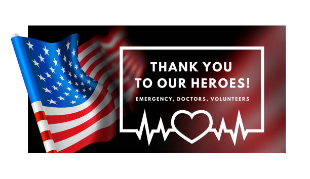 illustrazioni stock, clip art, cartoni animati e icone di tendenza di thanks for the heroes helping to fight the coronavirus. vector illustration with usa flag on background. - personale medico