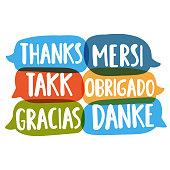 Thanks, mersi, takk, obrigado, gracias, danke. Translation concept. Hand drawn vector icon illustrations on white background.