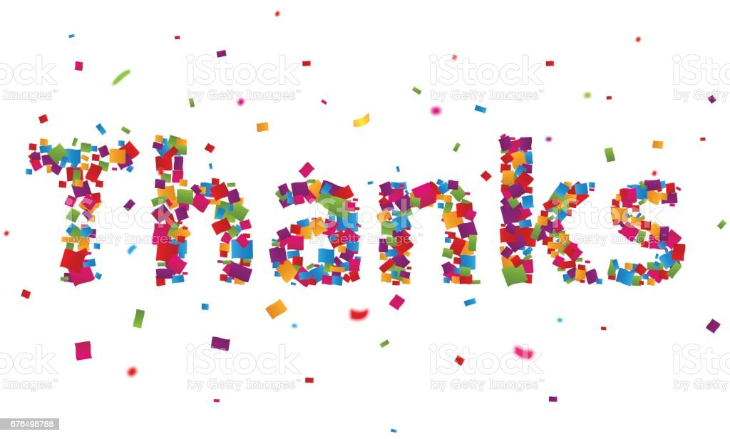 Thanks sign with colorful confetti vector art illustration