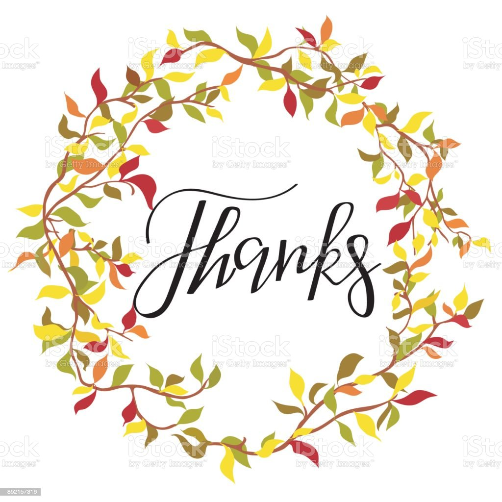 thanks simple lettering leafy autumn frame calligraphy postcard or