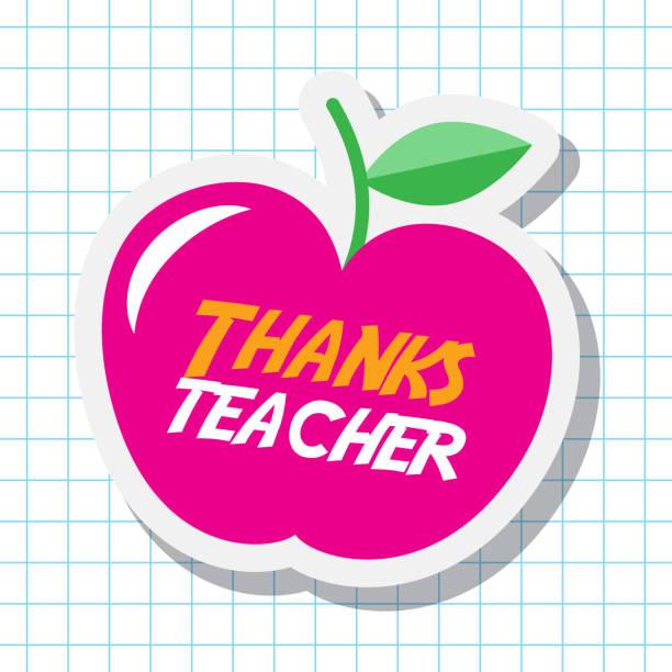 thanks teacher card big pink apple celebration thanks teacher card big pink apple celebration vector illustration thank you teacher stock illustrations