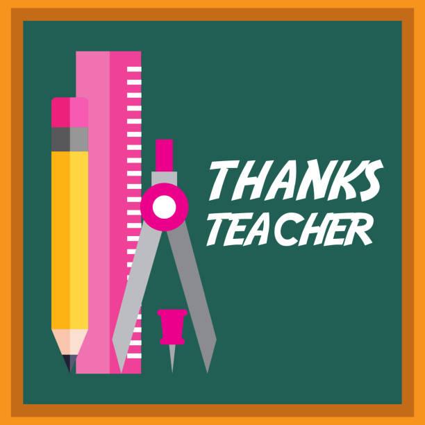 thanks teacher card chalkboard and ruler pencil - thank you teacher stock illustrations, clip art, cartoons, & icons