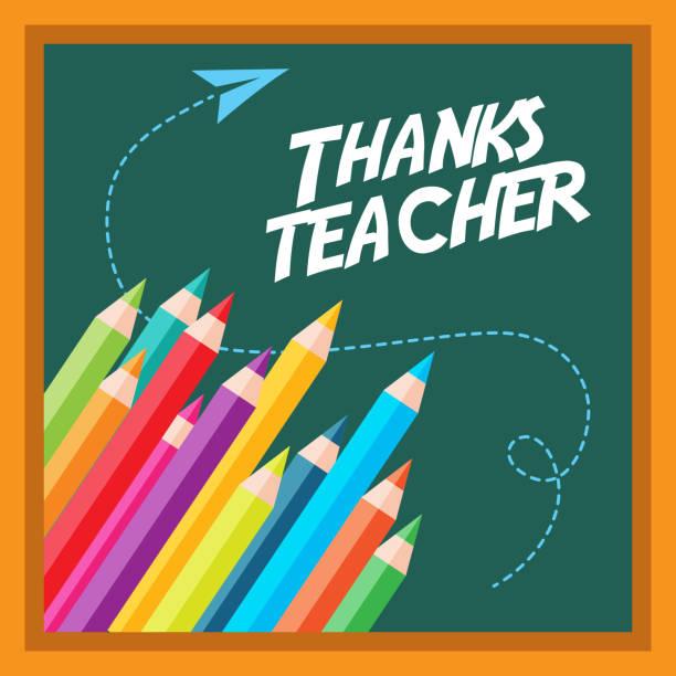 thanks teacher card greeting colors pen chalkboard thanks teacher card greeting colors pen chalkboard vector illustration thank you teacher stock illustrations