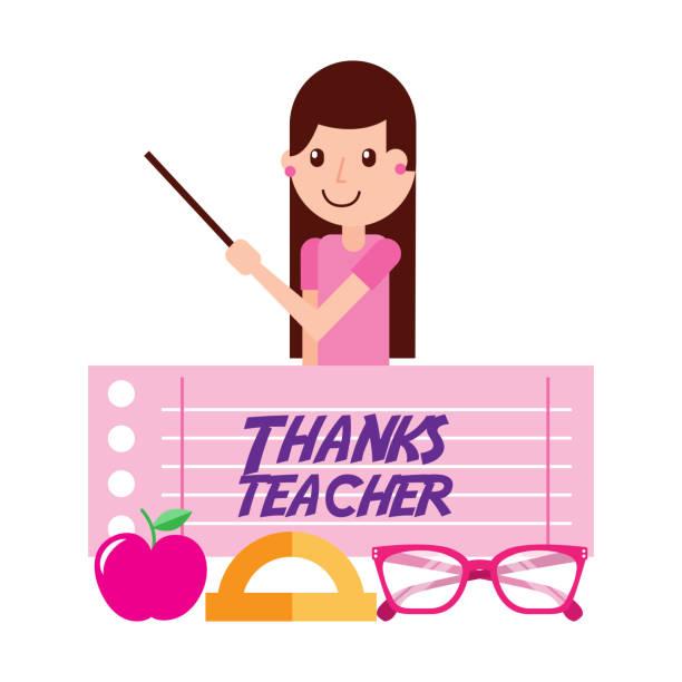 thanks teacher girl character and apple glasses - thank you teacher stock illustrations, clip art, cartoons, & icons