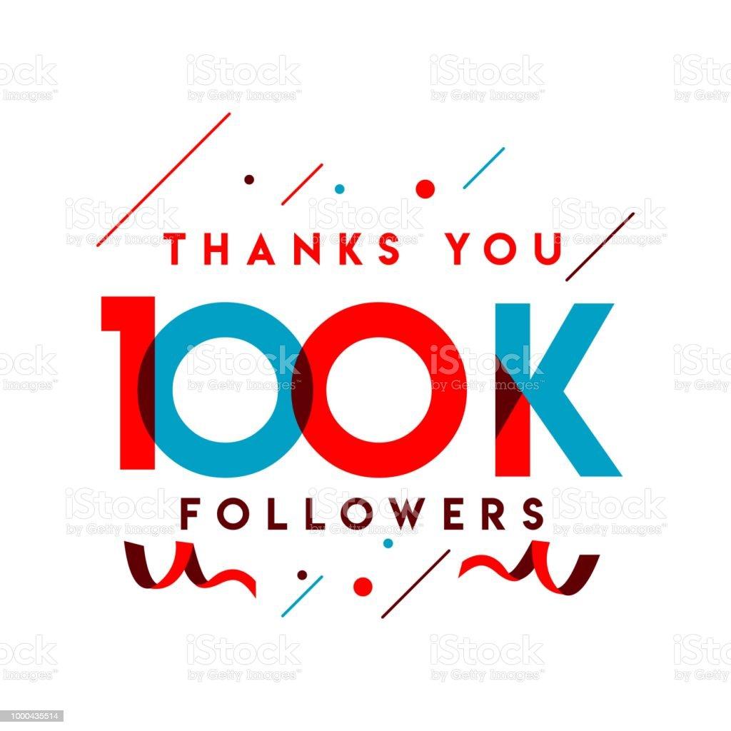 Thanks You 100k Followers Vector Template Design Illustration Stock
