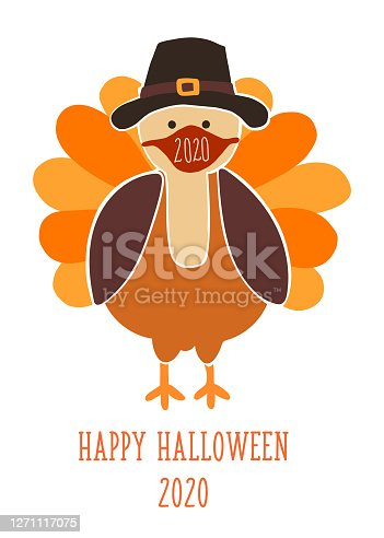 Thanksgiving 2020 greeting card template. Fully editable vector illustration. Turkey wearing a face mask. Stay home, social distancing design. Flyer, poster, greeting card, social media posts