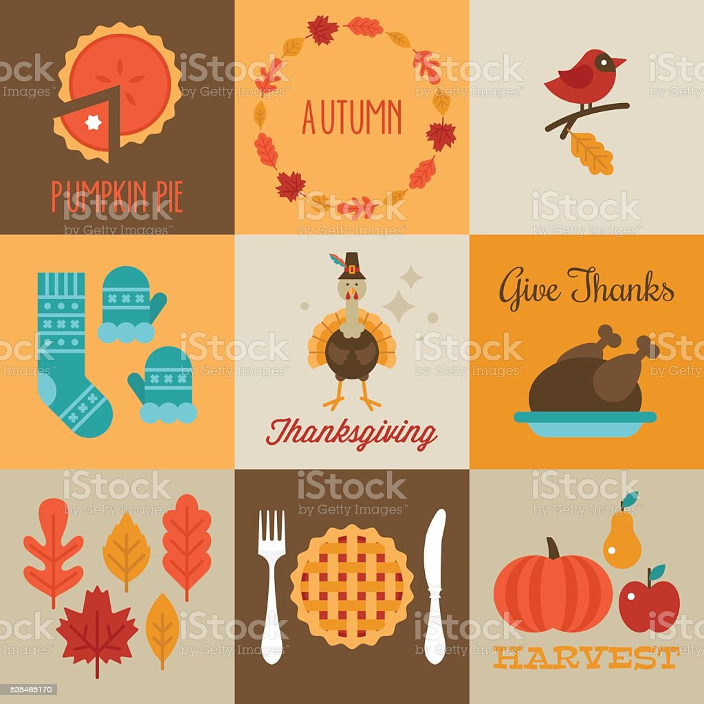 Thanksgiving and autumn greeting cards design with flat stylish vector art illustration