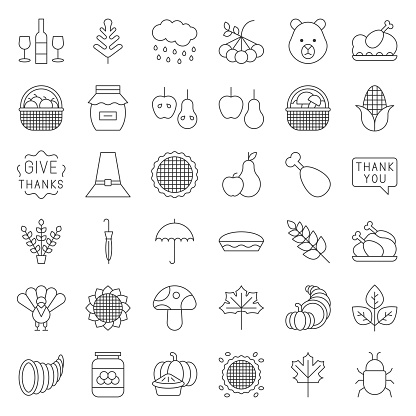 Thanksgiving and autumn related icon set, editable stroke outline on white background