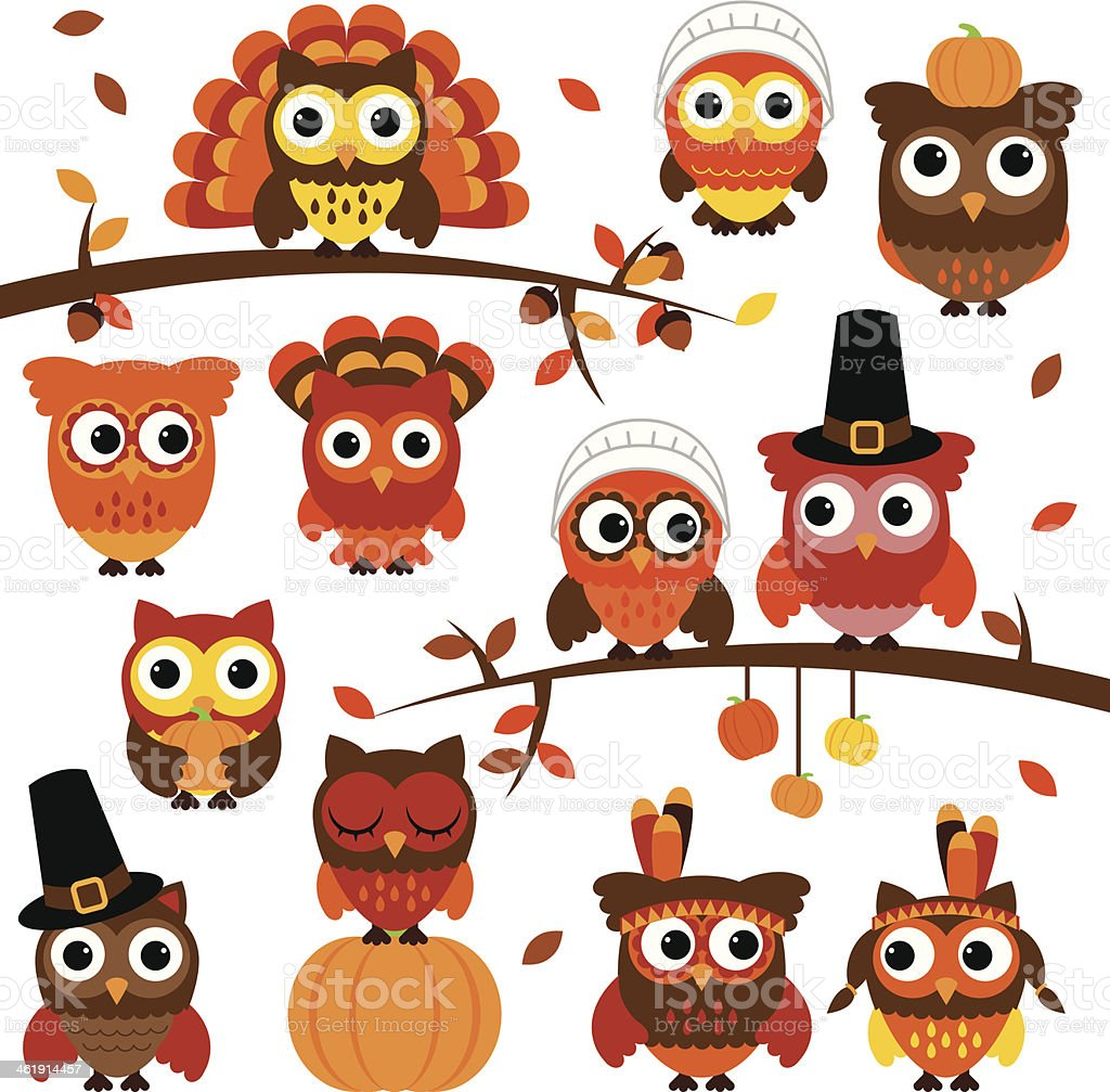 Thanksgiving and Autumn Themed Vector Owl Collection with Branches royalty-free stock vector art