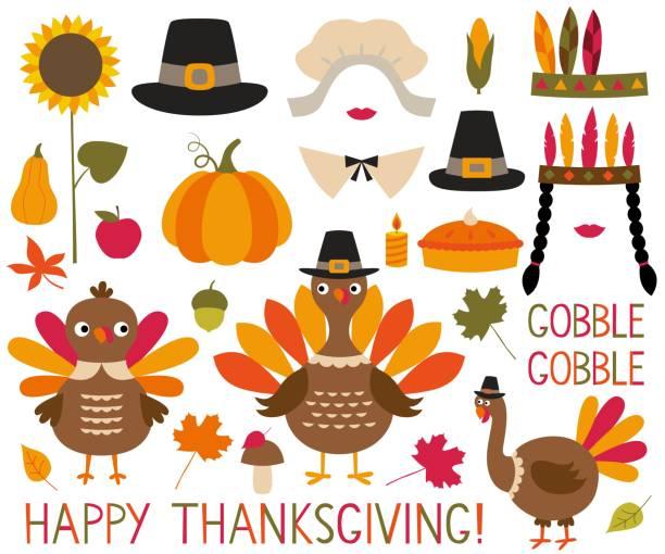 thanksgiving and fall decoration set (turkeys, pumpkins, pilgrim hats) - thanksgiving turkey stock illustrations
