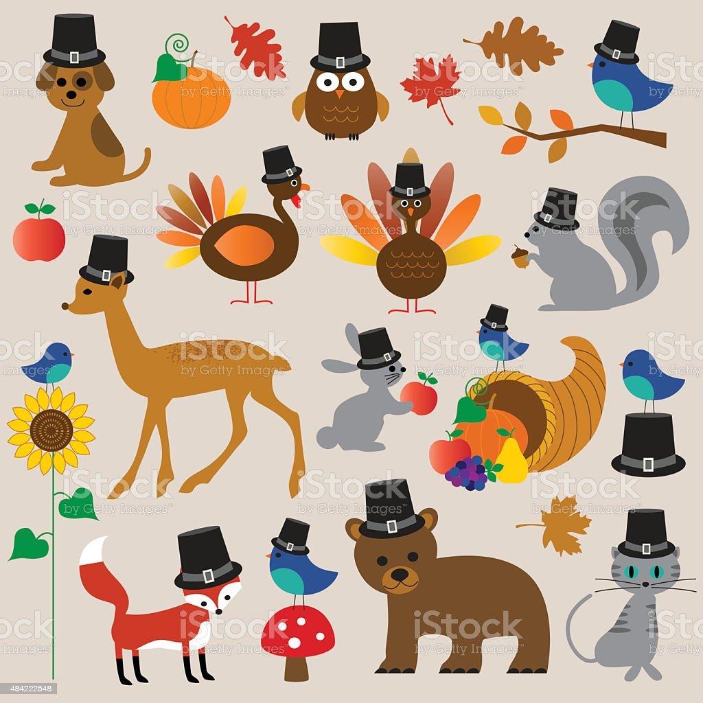 thanksgiving animals clipart vector art illustration