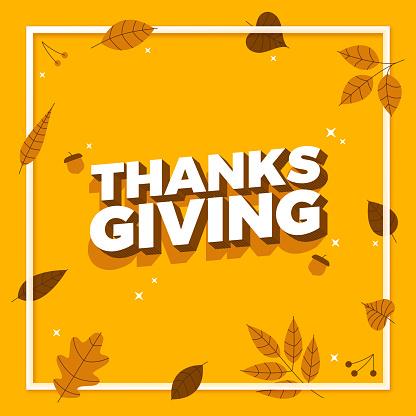 Thanksgiving Autumn Frame Message Background